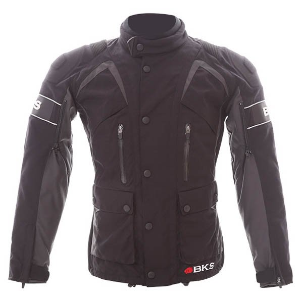 BKS BKW011Venture Black Grey Textile Motorcycle Jacket Front