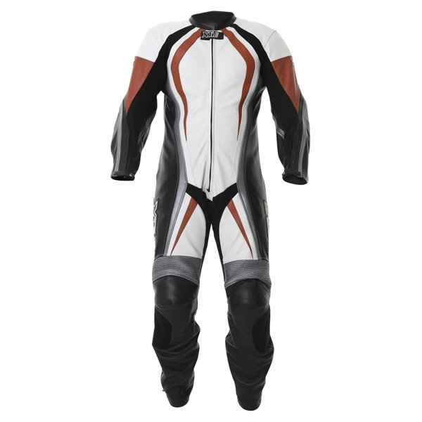 Frank Thomas FTL300 Xti 2 1pc Mens White Red Silver Leather Motorcycle Suit Front