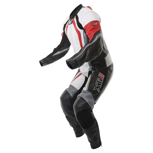 Frank Thomas FTL300 Xti 2 1pc Mens White Red Silver Leather Motorcycle Suit Racing crouch