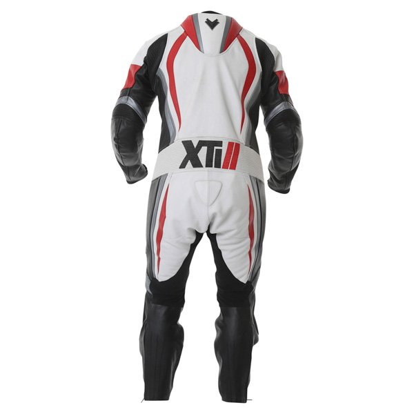 Frank Thomas FTL300 Xti 2 1pc Mens White Red Silver Leather Motorcycle Suit Back