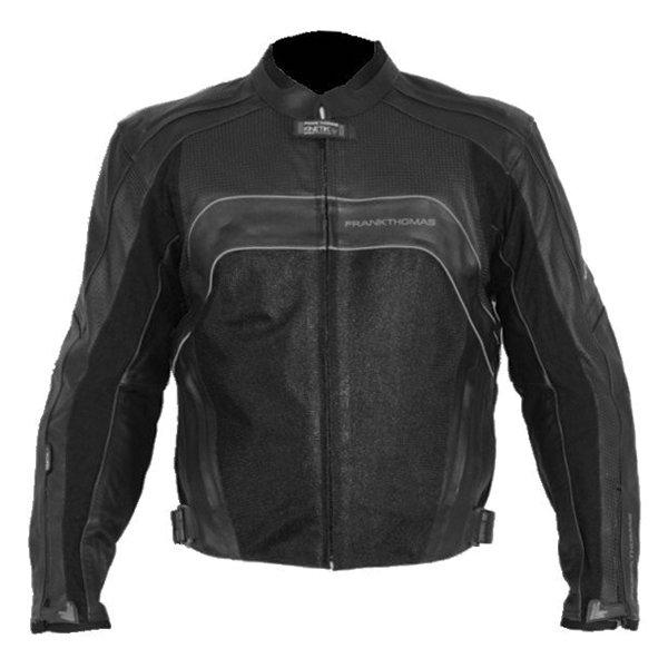 Frank Thomas FTL319 Kinetik Sport Mesh Black Leather Motorcycle Jacket Front