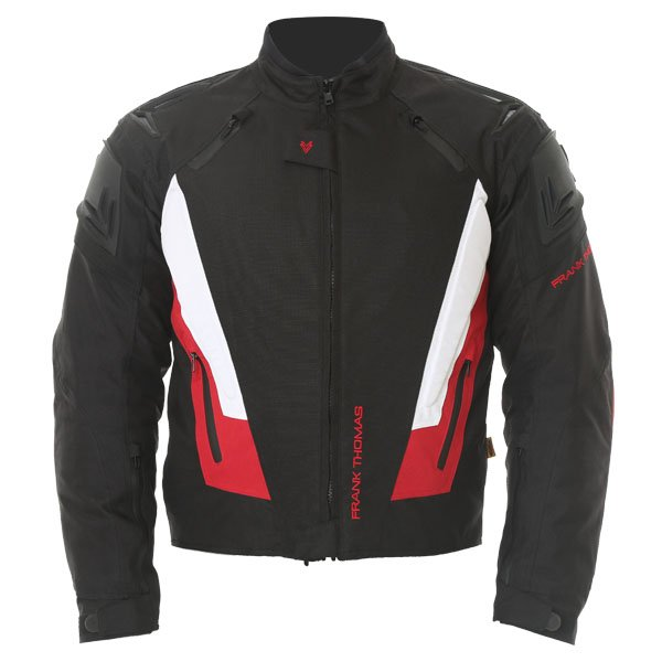 Frank Thomas FTW312 Black Knight Mens Black White Red Textile Motorcycle Jacket Front