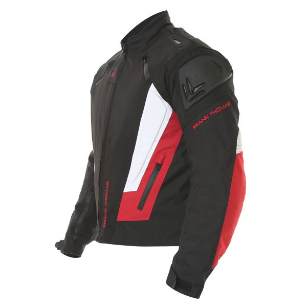 Frank Thomas FTW312 Black Knight Mens Black White Red Textile Motorcycle Jacket Side