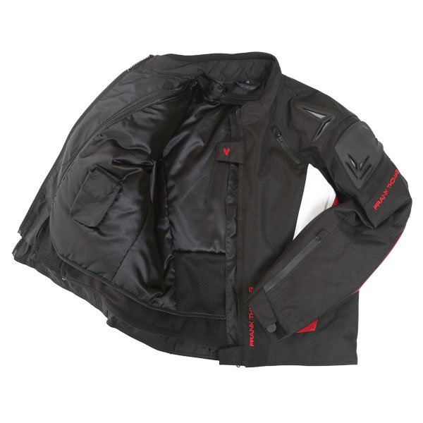 Frank Thomas FTW312 Black Knight Mens Black White Red Textile Motorcycle Jacket Inside