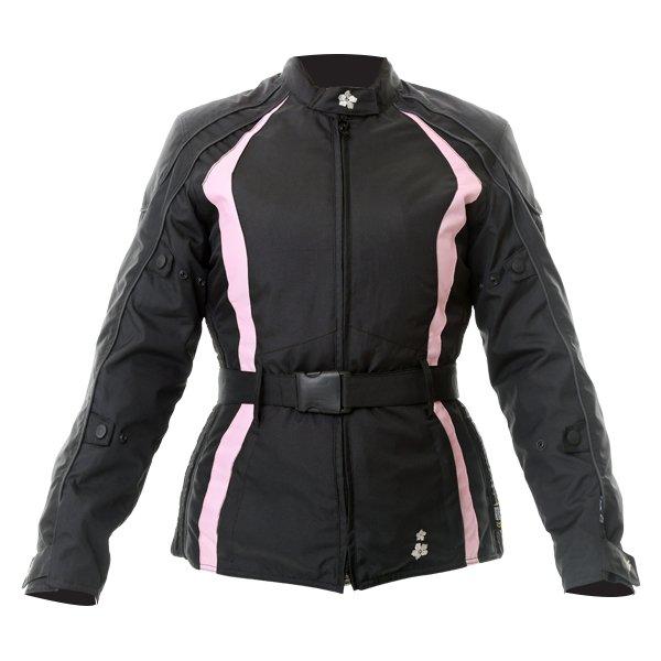 Frank Thomas FTW332 Evie Ladies Black Pink Textile Motorcycle Jacket Front