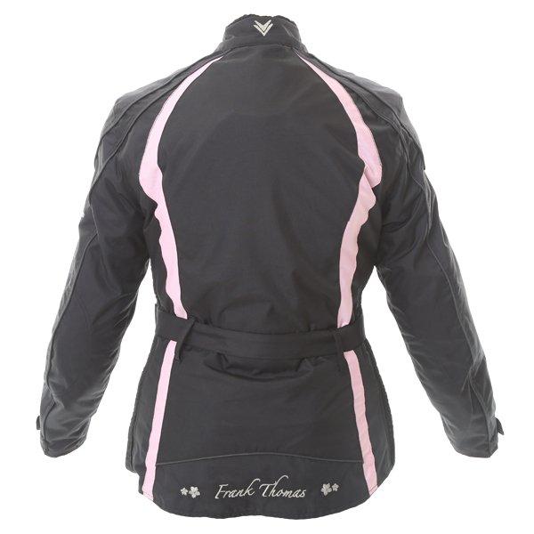 Frank Thomas FTW332 Evie Ladies Black Pink Textile Motorcycle Jacket Back