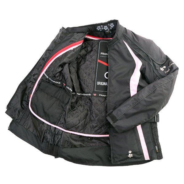 Frank Thomas FTW332 Evie Ladies Black Pink Textile Motorcycle Jacket Inside