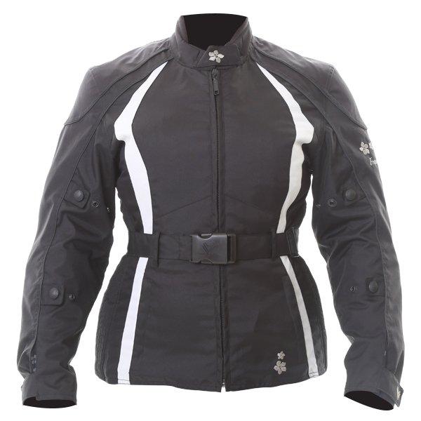 Frank Thomas FTW332 Evie Ladies Black White Waterproof Textile Motorcycle Jacket Front