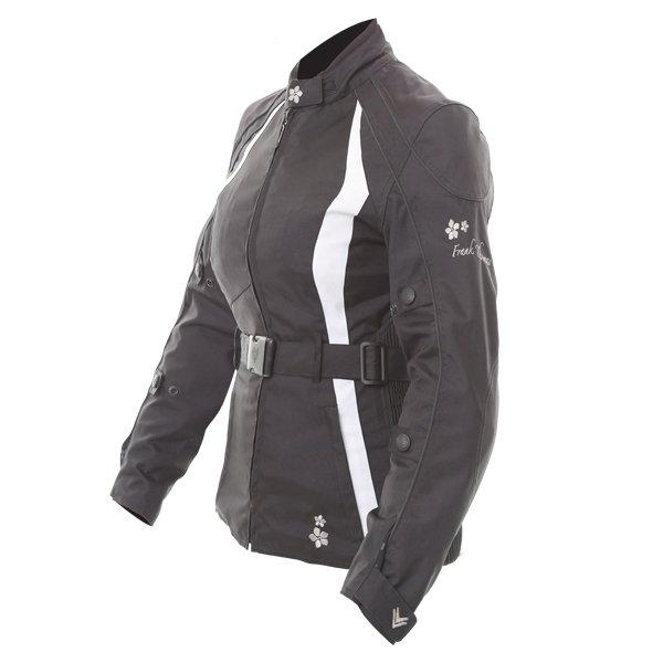 Frank Thomas FTW332 Evie Ladies Black White Waterproof Textile Motorcycle Jacket Side