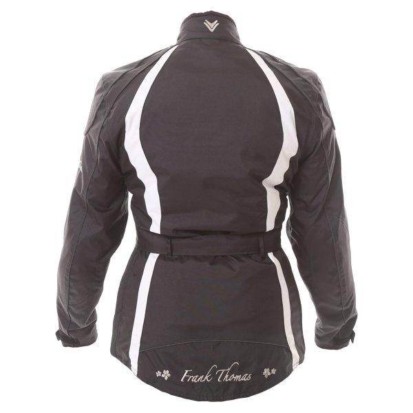 Frank Thomas FTW332 Evie Ladies Black White Waterproof Textile Motorcycle Jacket Back