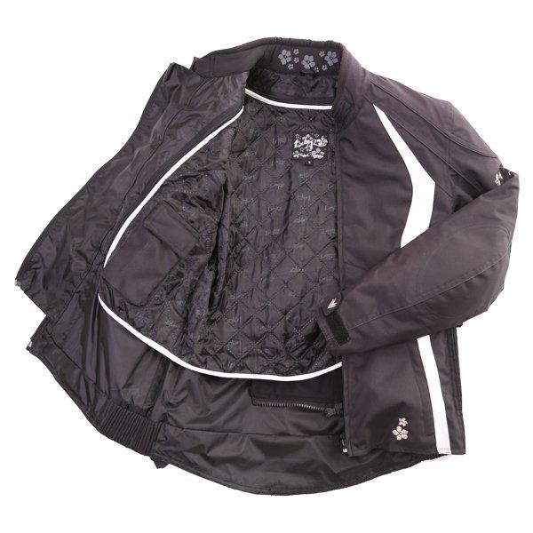 Frank Thomas FTW332 Evie Ladies Black White Waterproof Textile Motorcycle Jacket Inside