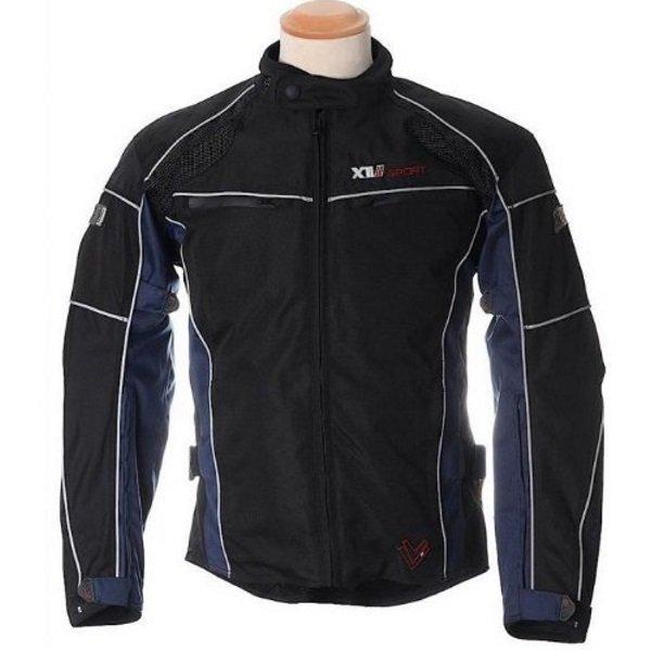 Frank Thomas FTW348 Xti II Aquatec Black Blue Waterproof Textile Motorcycle Jacket Front
