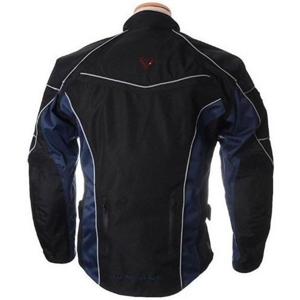 Frank Thomas FTW348 Xti II Aquatec Black Blue Waterproof Textile Motorcycle Jacket Back