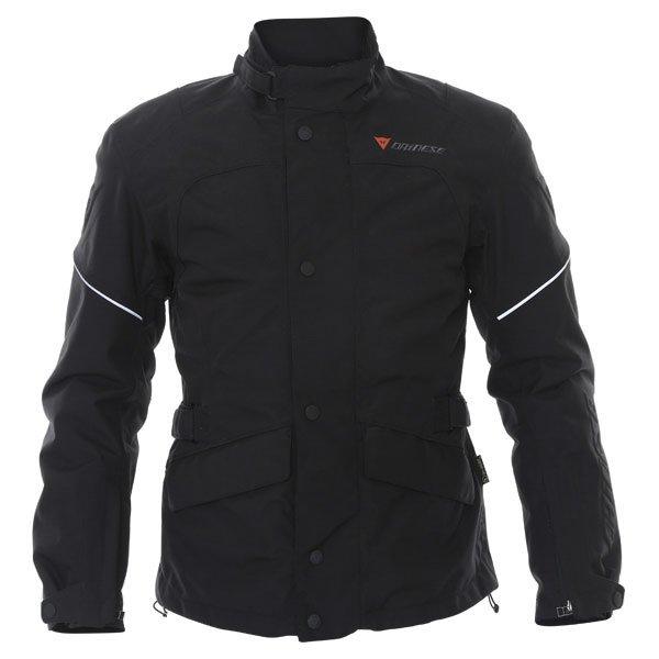 Dainese Aaron D-Dry Mens Black Silver Waterproof Textile Motorcycle Jacket Front