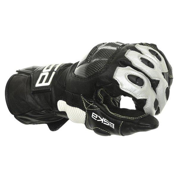 Eska GP Pro 1251 Black White Motorcycle Gloves Knuckle