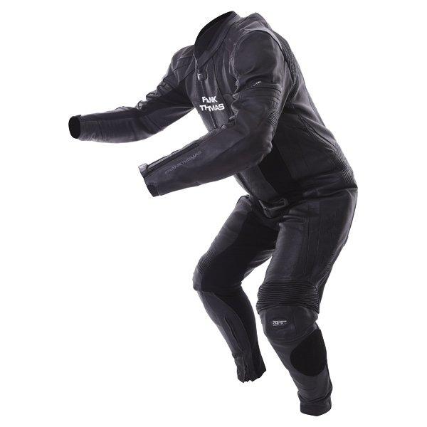 Frank Thomas FTL327 Kinetik Mens Black Leather Motorcycle Race Suit Racing crouch