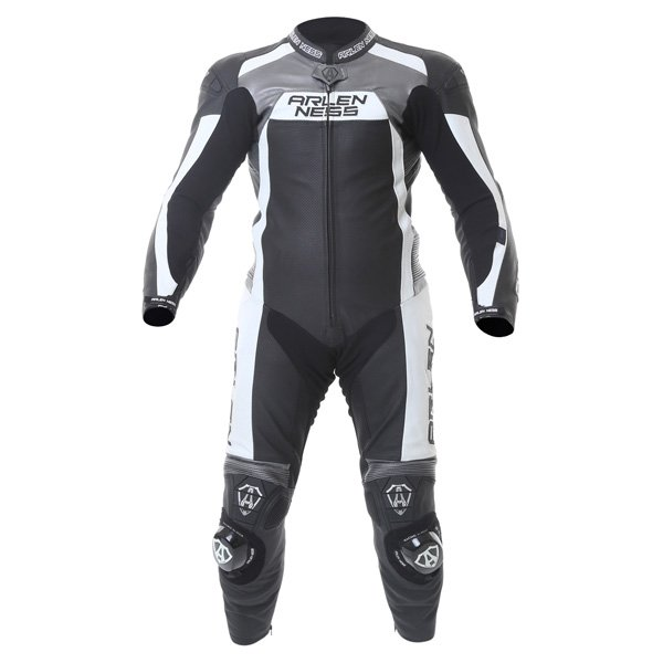 Arlen Ness Ls1-9473-An 1Ps Mens Black Grey White Leather Motorcycle Suit Front
