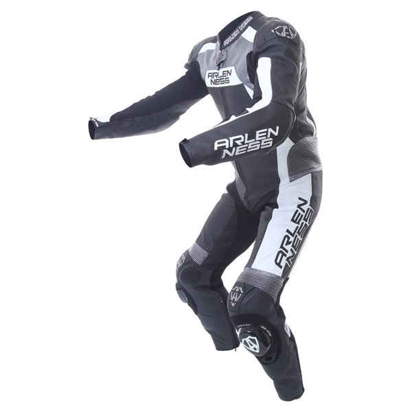 Arlen Ness Ls1-9473-An 1Ps Mens Black Grey White Leather Motorcycle Suit Racing crouch