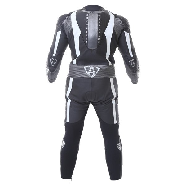 Arlen Ness Ls1-9473-An 1Ps Mens Black Grey White Leather Motorcycle Suit Back