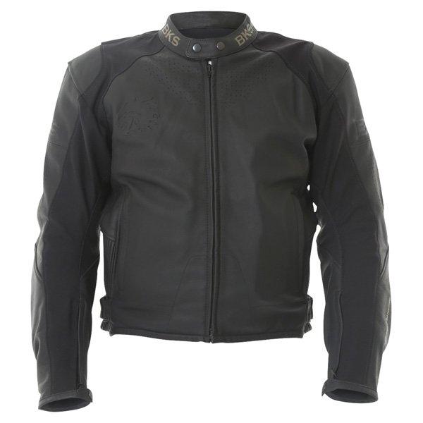 BKS Vanquish Black Leather Motorcycle Jacket Front