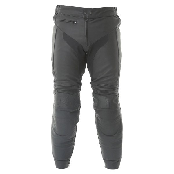 BKS Vanquish Mens Black Leather Motorcycle Jeans Front
