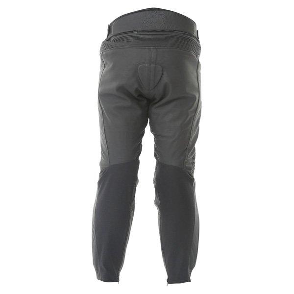 BKS Vanquish Mens Black Leather Motorcycle Jeans Rear