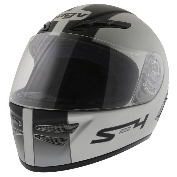 AGV S4 Silver Black Helmet Front Left