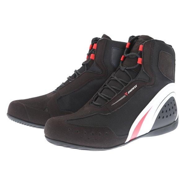 Motorshoe D-WP Shoes Black White Red Dainese