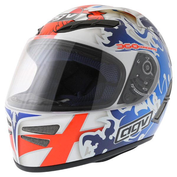 AGV Stealth St George Blue Helmet Front Left