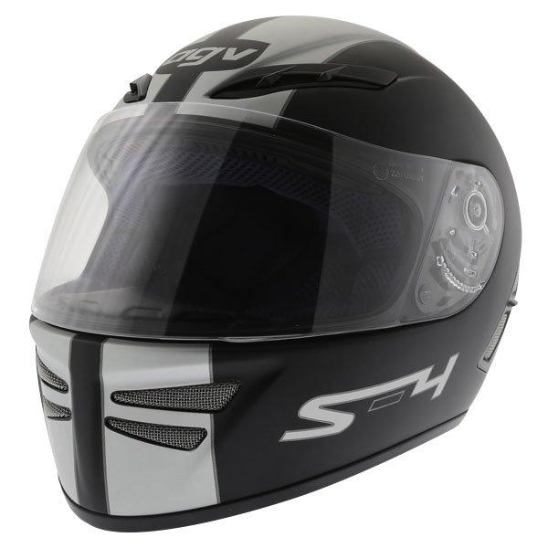 AGV S4 Matt Black Silver Helmet Front Left