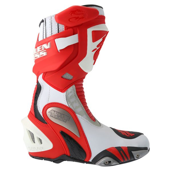 Arlen Ness M101 Red Motorcycle Boots Outside leg