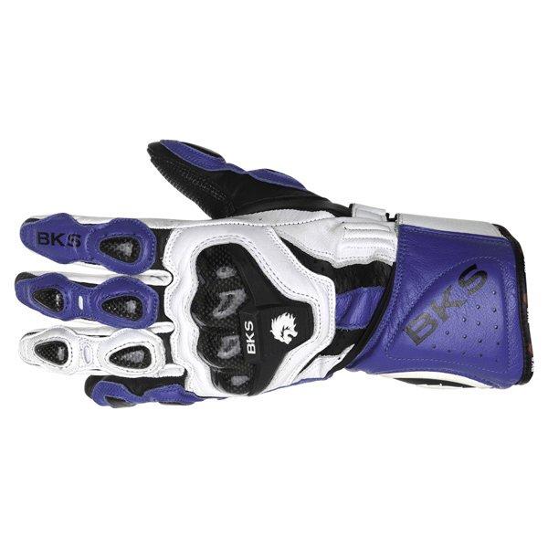 BKS Sphynx Blue White Black Motorcycle Gloves Back
