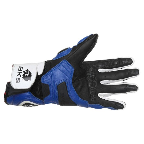 BKS Sphynx Blue White Black Motorcycle Gloves Palm