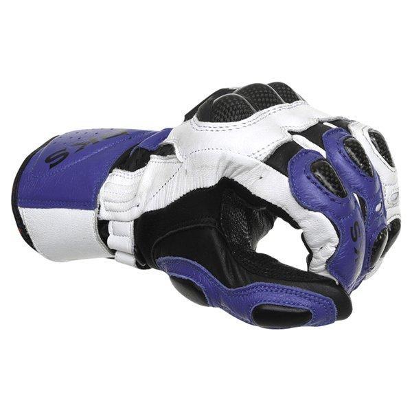 BKS Sphynx Blue White Black Motorcycle Gloves Knuckle