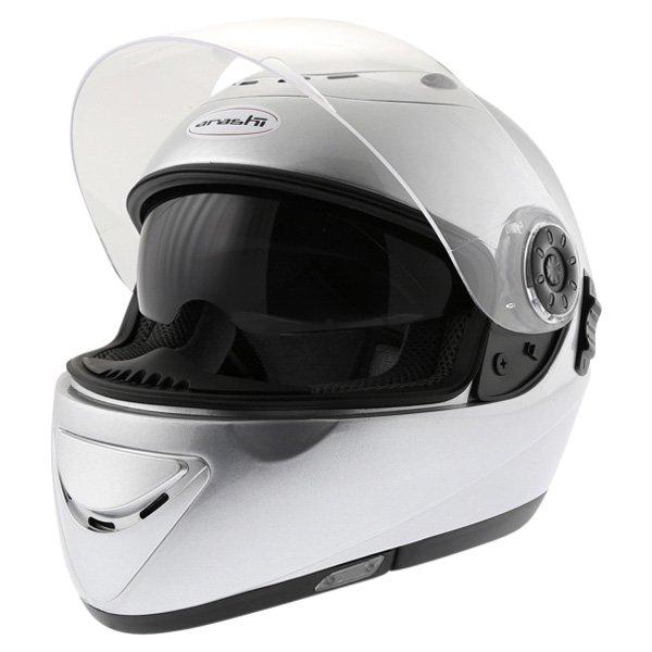 Arashi AH4180 Steel 2 Silver Helmet Open With Sun Visor