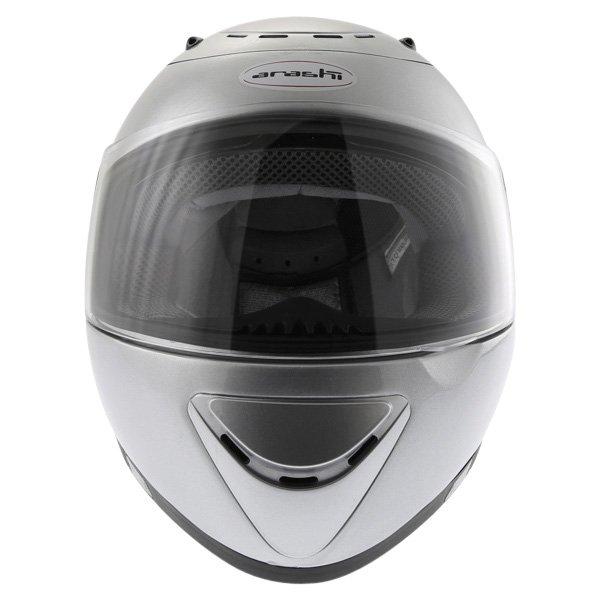 Arashi AH4180 Steel 2 Silver Helmet Front