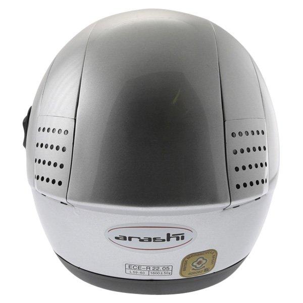 Arashi AH4180 Steel 2 Silver Helmet Back