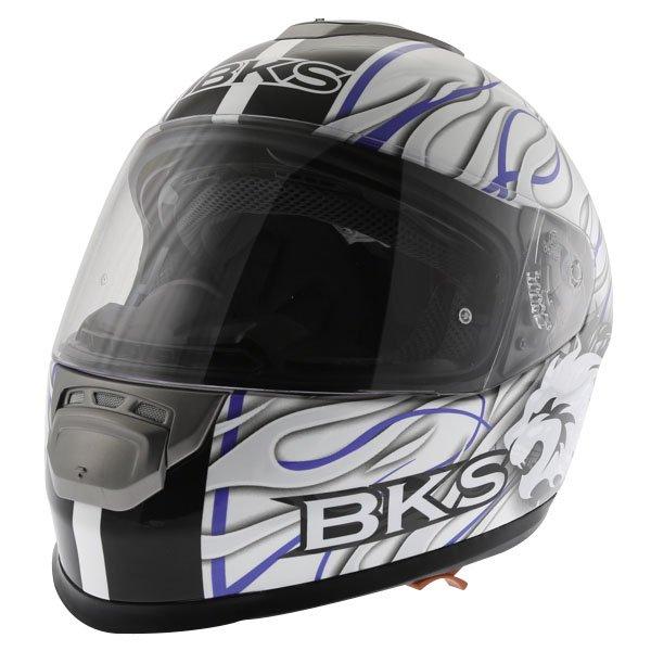 BKS Burnout White Black Blue Helmet Front Left