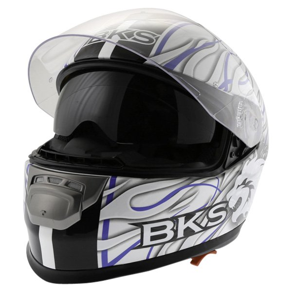 BKS Burnout White Black Blue Helmet Open With Sun Visor