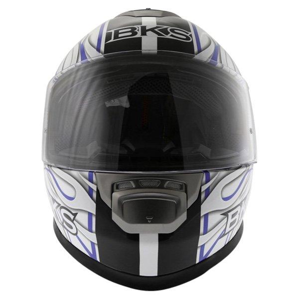 BKS Burnout White Black Blue Helmet Front