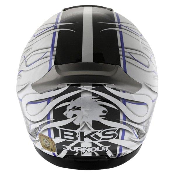 BKS Burnout White Black Blue Helmet Back