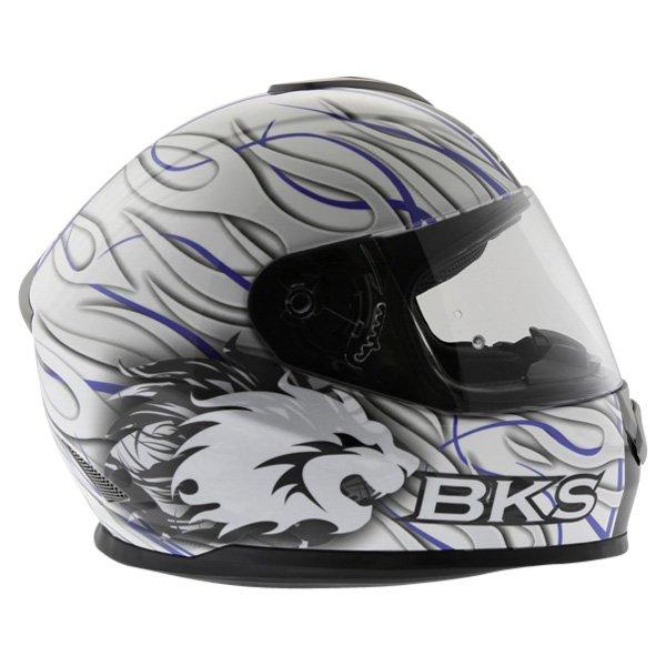 BKS Burnout White Black Blue Helmet Right Side