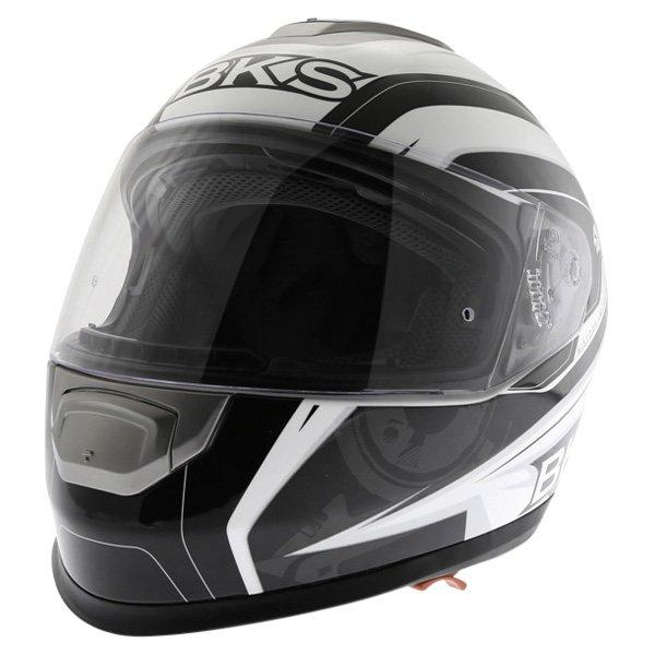 BKS Techno Black White Gun Helmet Front Left