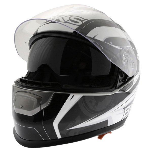 BKS Techno Black White Gun Helmet Open With Sun Visor