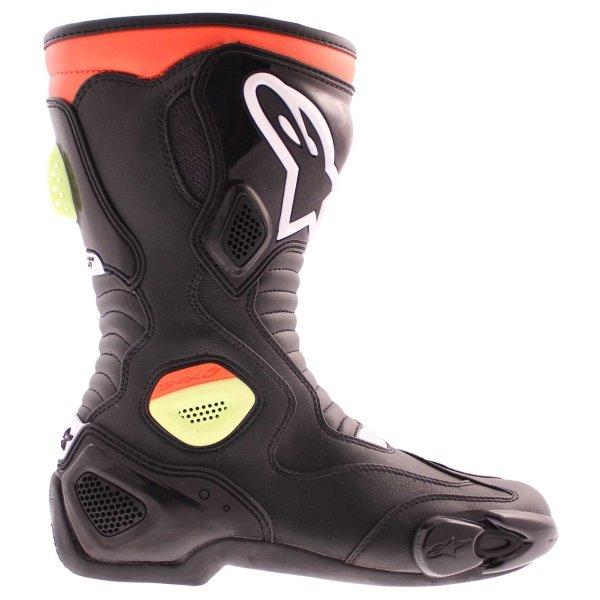 Alpinestars S-MX 5 Waterproof Black Red Yellow Motorcycle Boots Outside leg