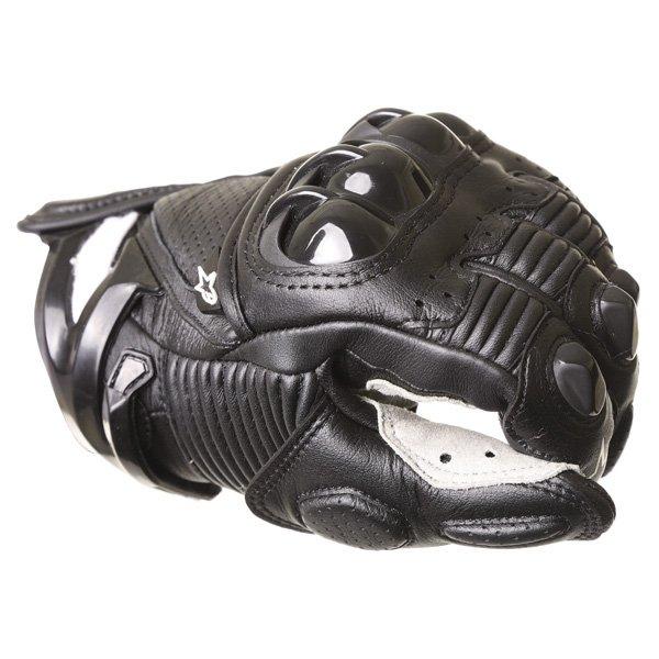 Alpinestars S-1 Black White Motorcycle Gloves Knuckle