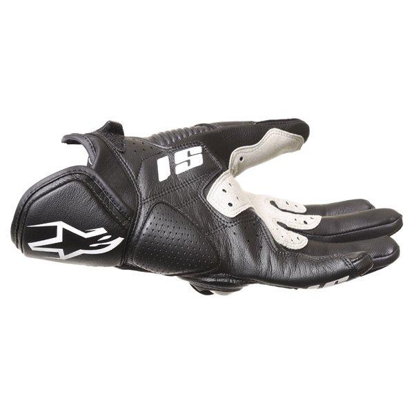 Alpinestars S-1 Black White Motorcycle Gloves Little finger side