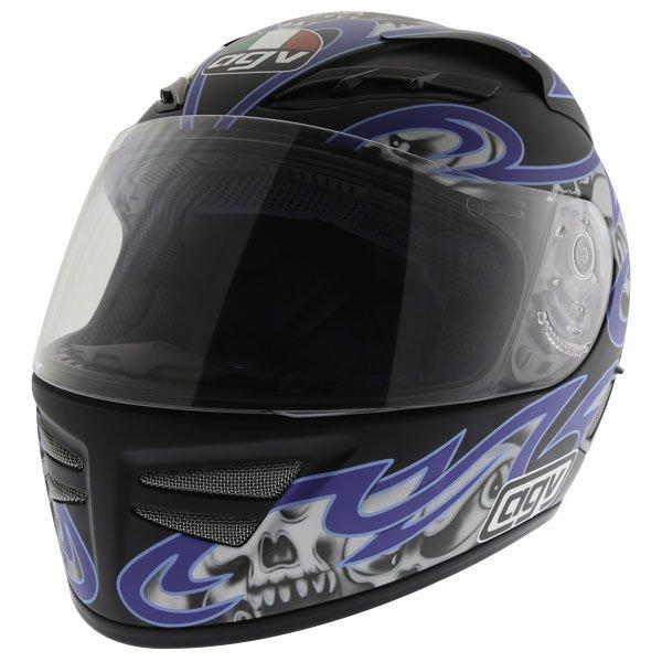 AGV Stealth Skulls Blue Helmet Front Left