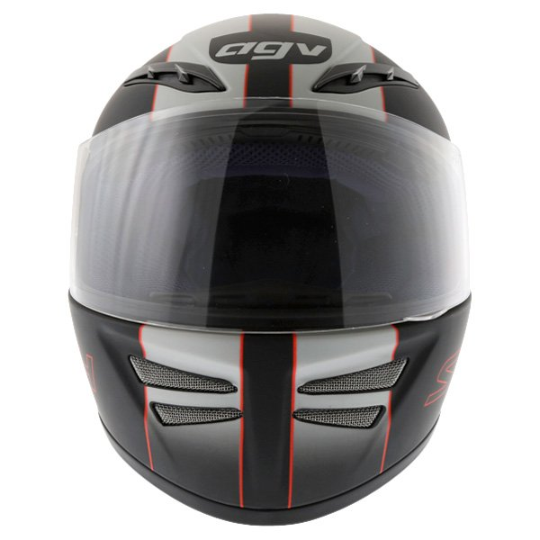 AGV S4 Black Silver Red Helmet Front