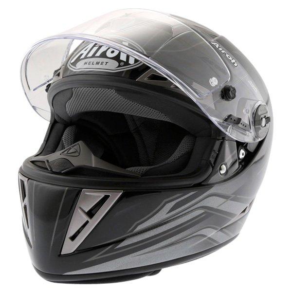 Airoh GP Shadow Black Helmet Open Visor